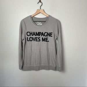CHASER Champagne Loves Me Sweatshirt Platinum